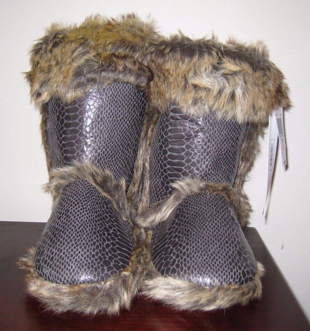 Kensie Gray Faux Snakeskin Leather w/Fur Trim & Fleece Ankle Bootie Slipper