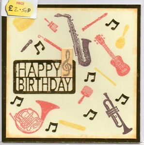Image Is Loading HAPPY BIRTHDAY MUSICAL INSTRUMENTS HANDMADE BLANK GREETING CARD