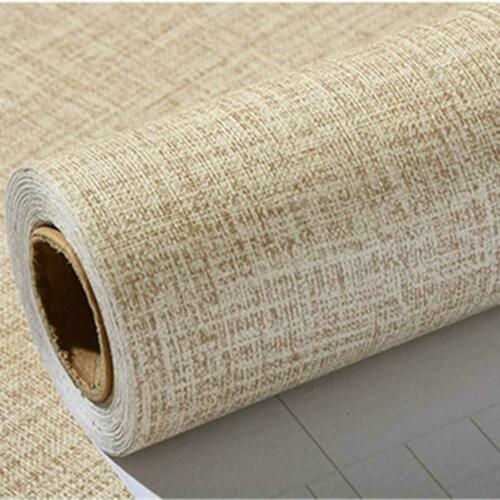 Self-Adhesive coffee Linen Peel and Stick Film Wallpaper Contact Paper Decor 2M