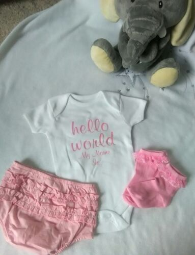 Personalised New born Baby vest Hello World Sleepsuit,Coming Home Outfit *SALE*