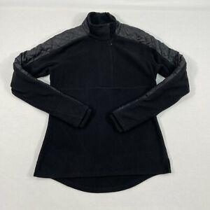 ATHLETA Quilted Vortex 1/2 Zip Pullover Fleece Jacket Top Thumbholes Black M