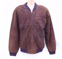 Vintage Brown 100% Real Leather KM Bomber Harrington Men's Coat Jacket sz XL 2XL