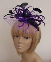 New Bespoke Cadburys Purple/Black Fascinator Mother of The Bride Weddings, Races