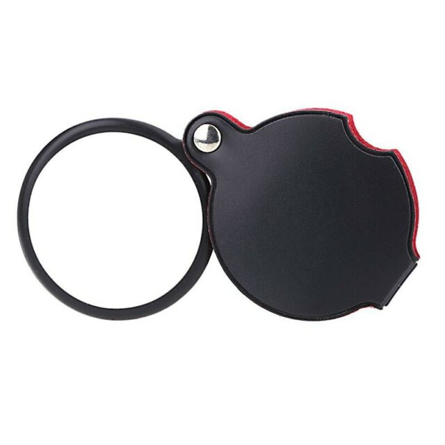 5X Glass Lens Pocket Magnifier with Leather Pouch Folding Magnifying Tool L1F3