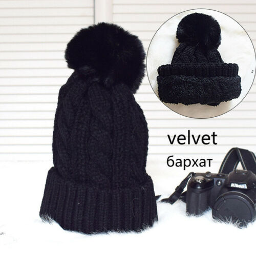 Women Fur Pompom Hat Cashmere Wool Knitted Winter Warm Slouchy Beanie Solid Caps
