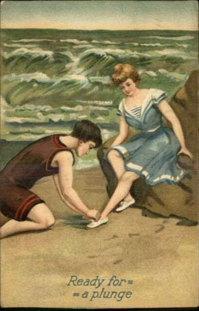 Bathing Beauty – Young Man Helps w/ Shoe READY FOR A PLUNGE Embossed Postcard