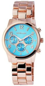 Excellanc-Damenuhr-Blau-Rosegold-Chrono-Look-Analog-Metall-Quarz-X154433500001