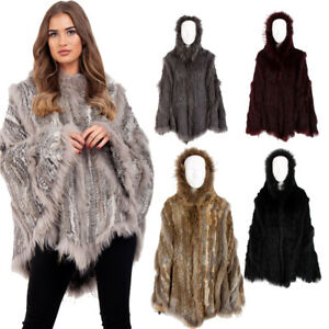 ea10e0c85fa5 New Womens Ladies Cable Knitted Hooded Real Fur Poncho Swing Cape ...