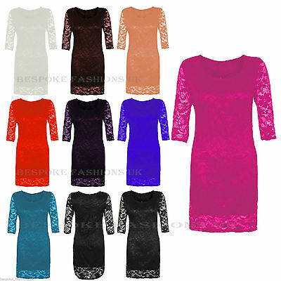 New Womens Floral Lace Sleeve Less Plus Size Long Bodycon Midi Dress 8-22