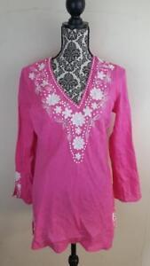 Lafayette-148-New-York-Sz-8-Linen-Pink-Tunic-Top-Shirt-Beaded-V-Neck-Boho