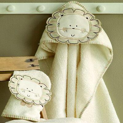 Baby Kapuzenhandtuch Badetuch Waschlappen Bio Baumwolle Löwe Natures Purest neu