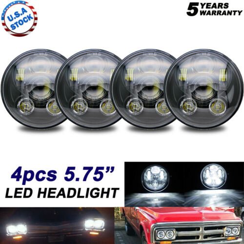 """4x 5.75/"""" 5-3//4in H5006 H5001 LED Projector Headlight For Chevy Impala Corvette"""