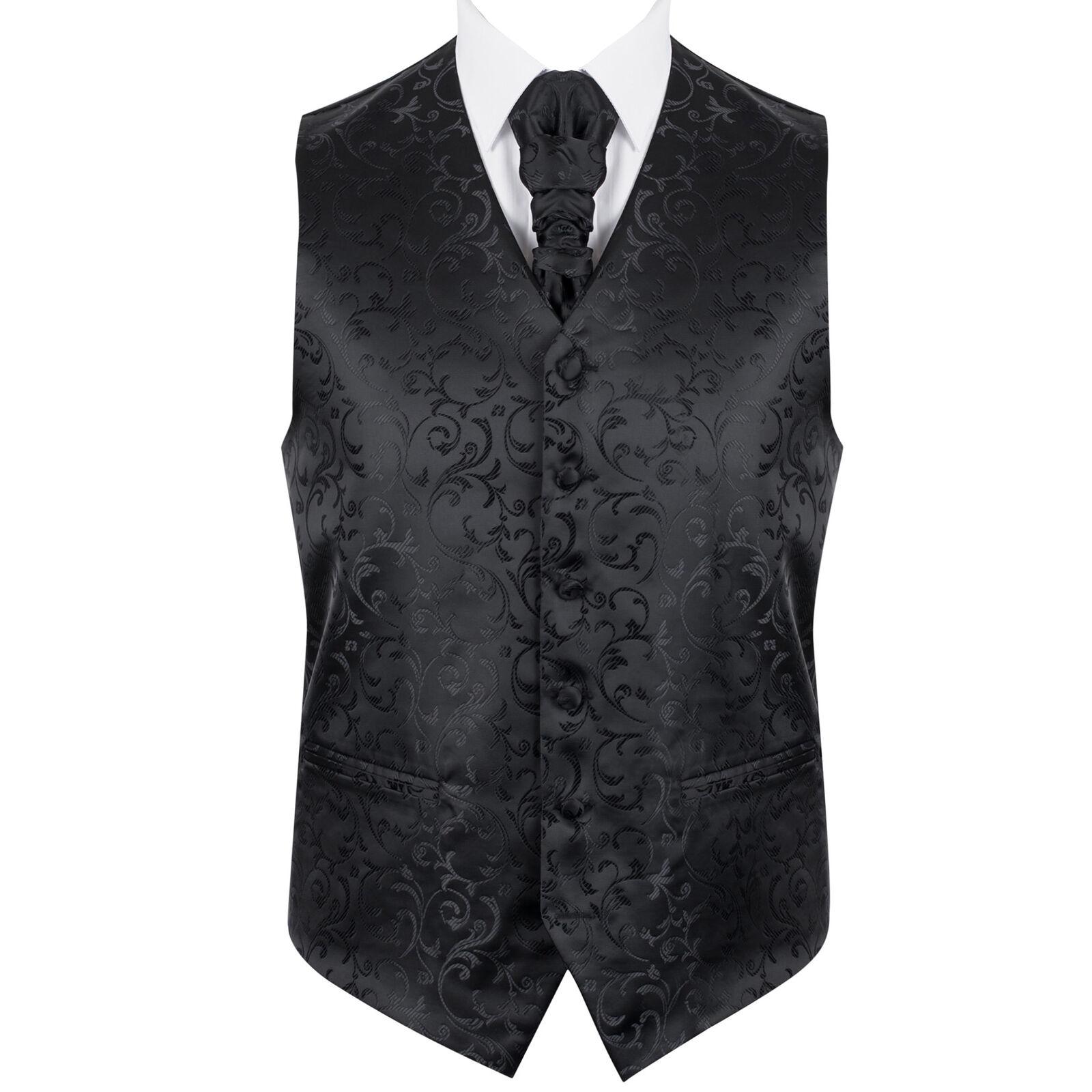 UK Men's Black on Black Wedding Waistcoat Swirl Leaf 6 Button Jacquard Suit Vest