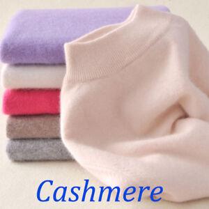 Women-039-s-Slim-cozy-Knitted-Half-Turtleneck-Cashmere-wool-Jumper-Pullover-Sweater