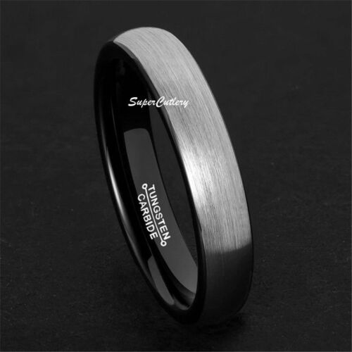 Tungsten Men Wedding Band Ring Comfort Fit White Gold Plated Brushed Surface