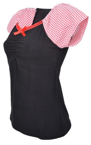 Küstenluder TAMARA Pepita 50s BOW Kurzarm Shirt Rot Rockabilly