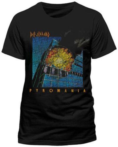 Pyromania Men/'s Black T-Shirt Official Def Leppard
