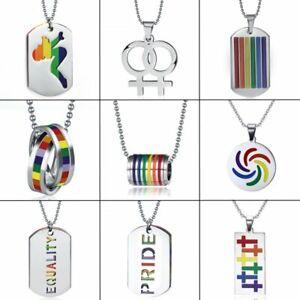 64c60d8df9d2c Stainless Steel Rainbow Lesbian Gay LGBT Pride Pendant Necklace ...
