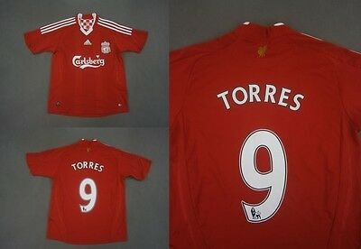 2008-10 ADIDAS Liverpool FC Home Shirt Torres 9 SIZE L.Boys, XS