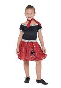 MéThodique Rock N Roll Robe à Paillettes Rouge 140 Cm, 50 S, Filles (ou Garçons!) Fancy Dress-afficher Le Titre D'origine Cool En éTé Et Chaud En Hiver