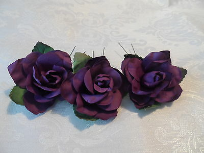 3 LARGE ROSE HAIR PIN GRIPS SLIDES FLOWERS WEDDING ACCESSORIESBRIDAL