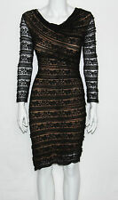 NEW Studio M Size XS/BLACK Long Sleeve Floral Lace Side Ruched Dress $128