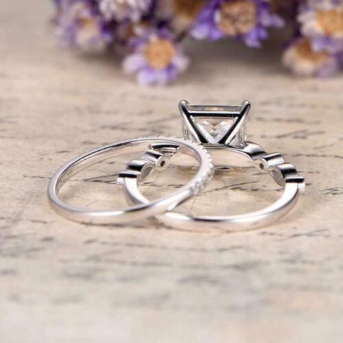 Solitaire Women/'s Bridal Wedding Ring Set 925 Silver 2.00ct Princess Cut Diamond