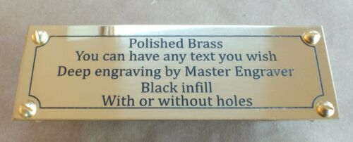 Many Sizes Deep Engraved Brass Name Plate Plaque Painted Infill