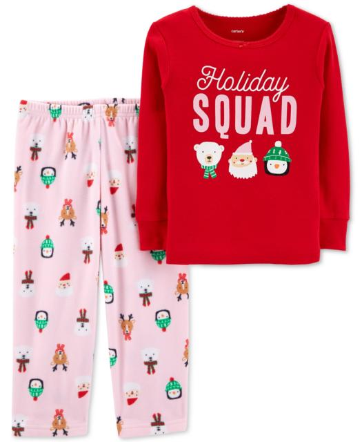Stripe Toddler//Kid Carters Little Girls 2 Piece Holiday PJ Set