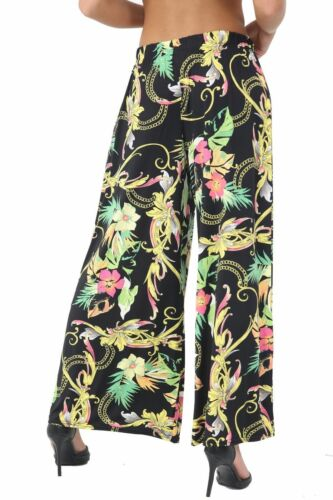 New Ladies Floral Print Palazzo Trousers Women/'s Flared Wide Leg Stretch Pants