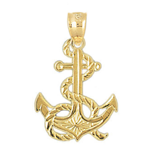 14k yellow gold anchor pendant ebay aloadofball Gallery