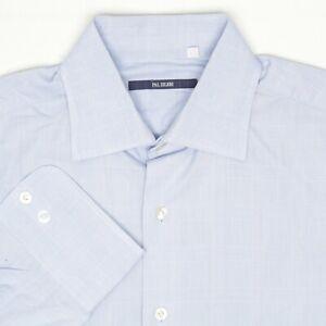 Pal Zileri Hommes Robe Chemise 16/35 Solide Bleu Clair Glen Plaid Bouton Avant