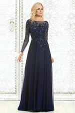 2017 Navy Blue Mother of the Bride Dress for Weddings Long Sleeves Plus Size
