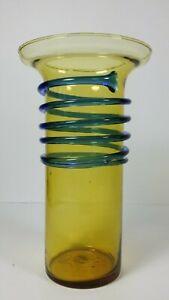 Antique-Tango-Yellow-Blue-Swirl-Glass-Vase-Czech-Bohemian-Art-Deco-Loetz-Era