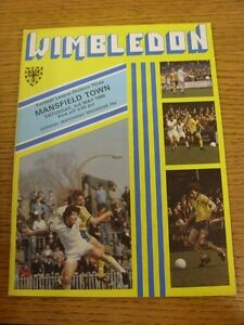 03051980 Wimbledon v Mansfield Town   Thanks for taking the time to view our - Birmingham, United Kingdom - Returns accepted within 30 days after the item is delivered, if goods not as described. Buyer assumes responibilty for return proof of postage and costs. Most purchases from business sellers are protected by the Consumer Contr - Birmingham, United Kingdom