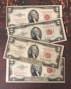 Old $2.00 Bill Collection 1953 Note Paper Money Collection /& 1976 3 1963
