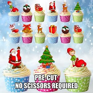 Christmas Cupcake Toppers.Details About Pre Cut Edible Christmas Cupcake Toppers Decorations Santa Reindeer Pudding Elf