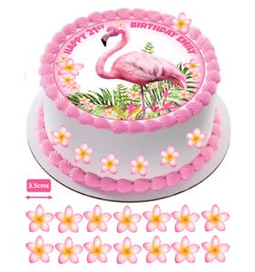 Flamingo Tropical Frangipani Edible Pink Circle Cake Topper Decoration #777