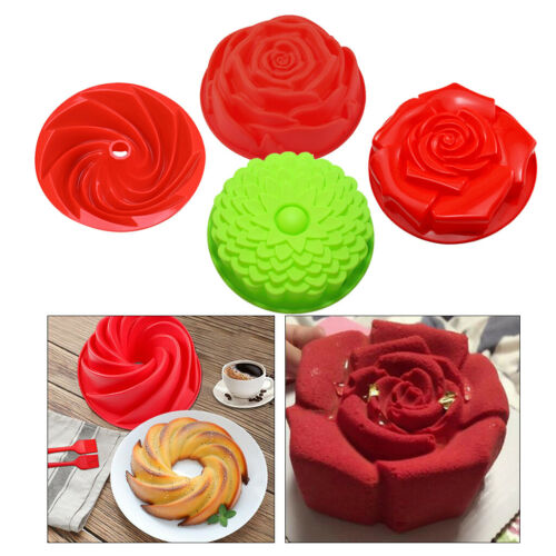 4x Silicone Cupcake Mold Mousse Cookie Pastry Baking Tray Mould Pan Bakeware