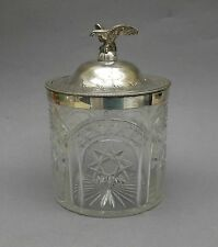 19thC Cut Glass & Silver Plated Biscuit Jar ~ Eagle Finial / Antique Cookie Box