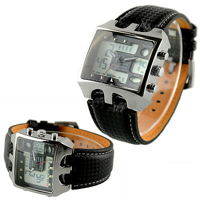 New Fashion Men's Stainless Steel Case Black Leather Digital Quartz Wrist Watch