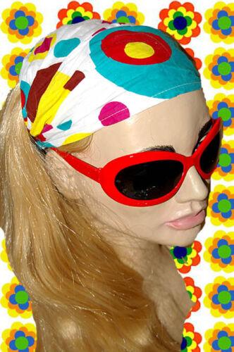 bunt A74✪ 60er 70er Jahre Kult Kopftuch Haarband Hippie Retro Panton weiss
