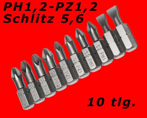 10 x Profi Kreuz /& Schlitz Bits Set Schraubendreher Bitsbox S2 Stahl Kurz Y4822