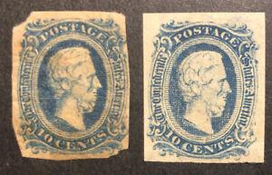 TDStamps: US Confederate States CSA Stamp Scott#11 (2) Mint H OG Crease