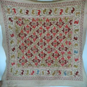 Antique-Uzbek-Silk-Suzani-Tapestry-4x5-ft-Decorative-Hand-Embroidered-Wall-Decor