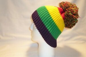 bbca3c5014f Image is loading RED-YELLOW-GREEN-PURPLE-BOBBLE-HAT-BEANIE-FLEECE-