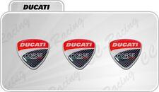 3 Adesivi Resinati Sticker 3D Ducati Corse 2 cm