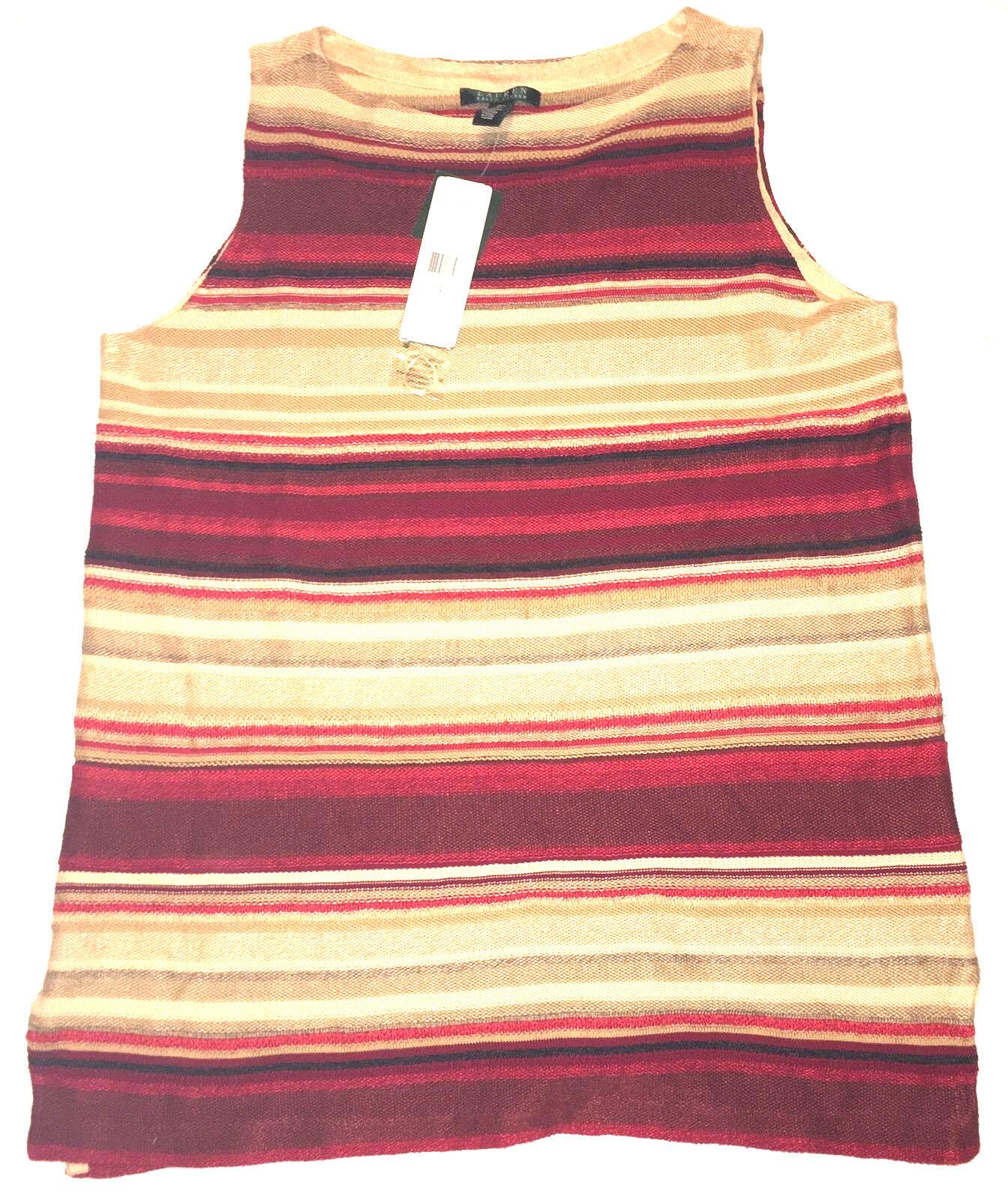 RALPH LAUREN rot braun Striped Linen Cotton Sleeveless Sweater Long Top 1X NEW