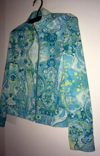 Sport S Paisley Turquoise femmes à en John glissière St en mélangé pour Veste de jean coton wnf8w61