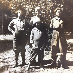 Antique Photo Girls Dog Camping Beaver Creek ID Franklin 1900s Klamath Forest CA